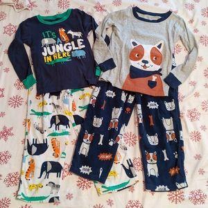 Lot of 2 Carter's Fleece Pajama Sets, Sz 5T